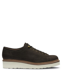 Men's dark brown leather lace-up shoes