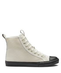 Ecru leather high-rise sneakers