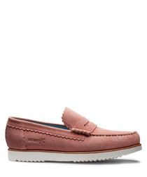 Men's peach leather loafers