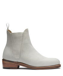 Women's white leather Chelsea boots