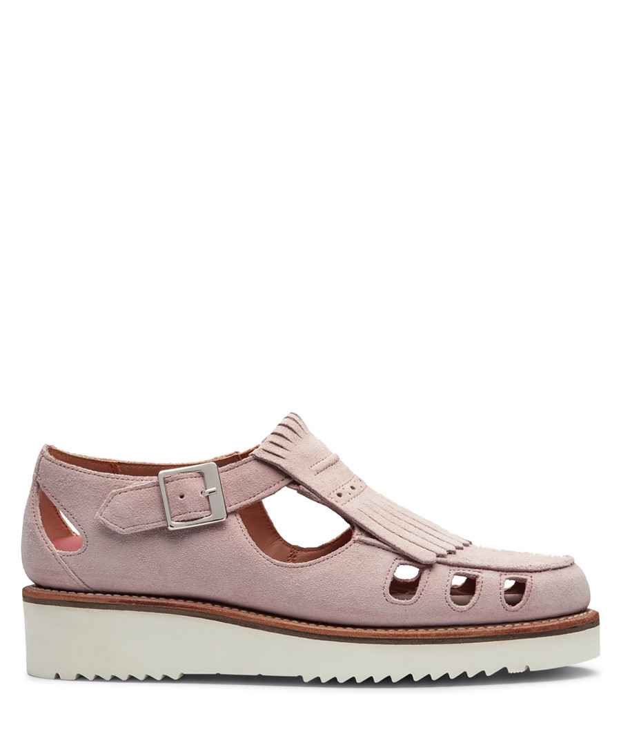 Women's pink leather cut-out sandals Sale - Grenson