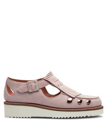 Women's pink leather cut-out sandals