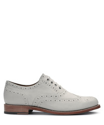Women's white leather lace-up brogues