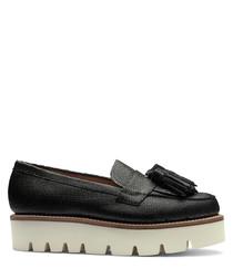 Women's leather platform tassel loafers