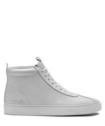 Women's white leather high-top sneakers
