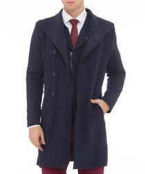 Navy cotton blend trench coat