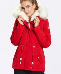 Red faux fur hooded short coat