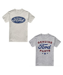 2pc multi-colour cotton logo T-shirts