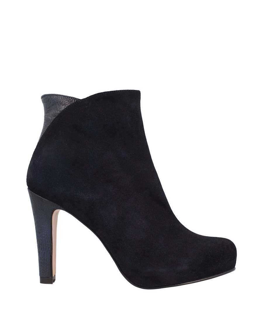 Navy leather mid-heel ankle boots Sale - roberto botella