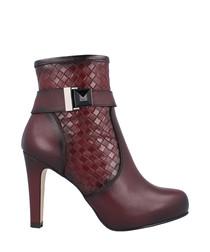 Bordeaux leather moc-croc ankle boots
