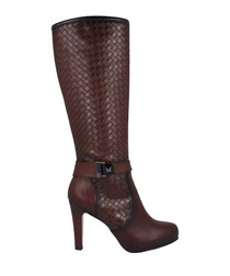 Brandy leather moc-croc knee-high boots