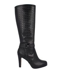 Black leather moc-croc knee-high boots