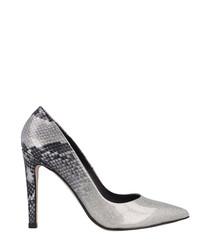 Grey snake-effect stiletto heels