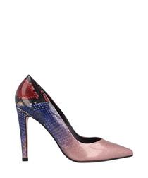Blue & red snake-effect stiletto heels