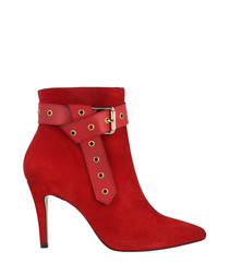 Red leather buckle detail ankle boots