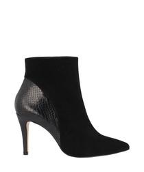 Black leather moc-croc ankle boots