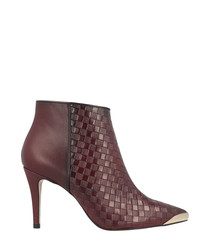 Bordeaux leather textured ankle boots