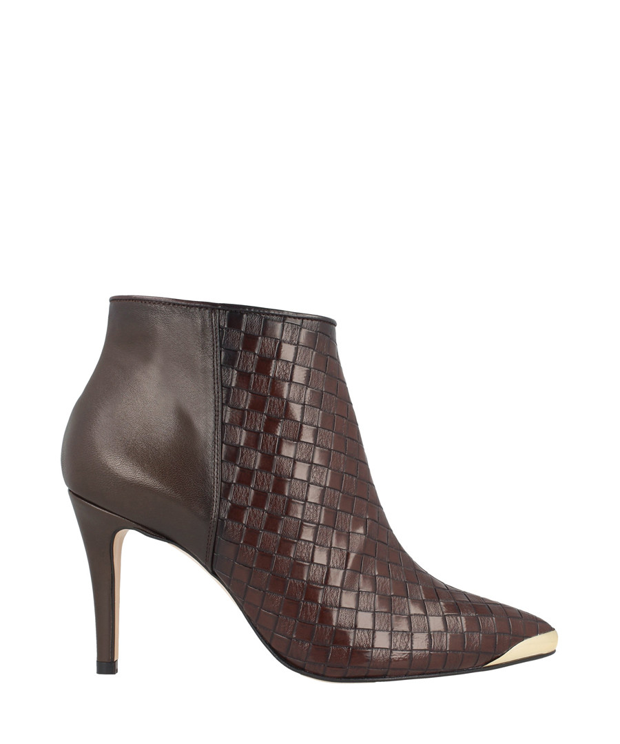 Brown leather textured ankle boots Sale - Roberto Botella