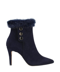 Blue leather button detail ankle boots
