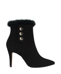 Black leather button detail ankle boots
