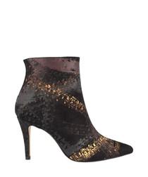 Multi-coloured moc-croc ankle boots