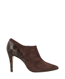 Brown leather snake-effect ankle boots