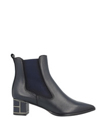 Blue leather block heel ankle boots