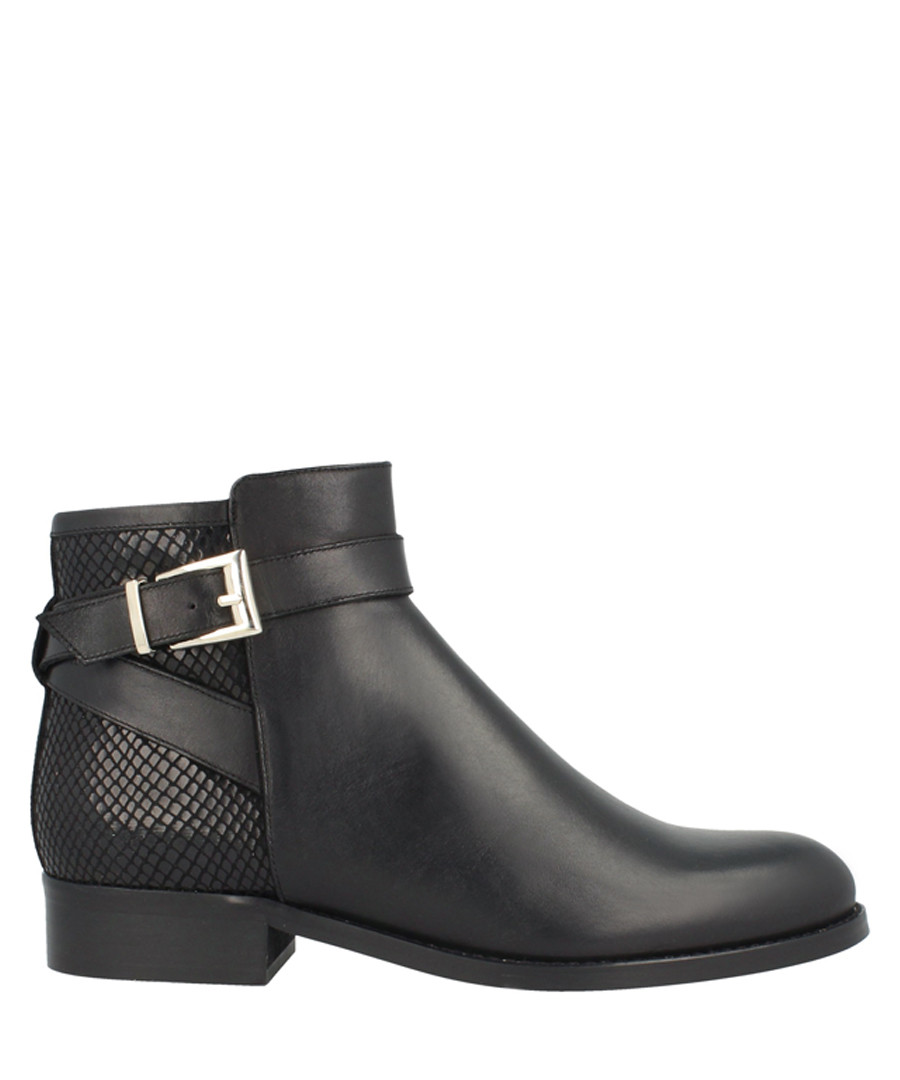 Black leather buckle detail ankle boots Sale - Roberto Botella
