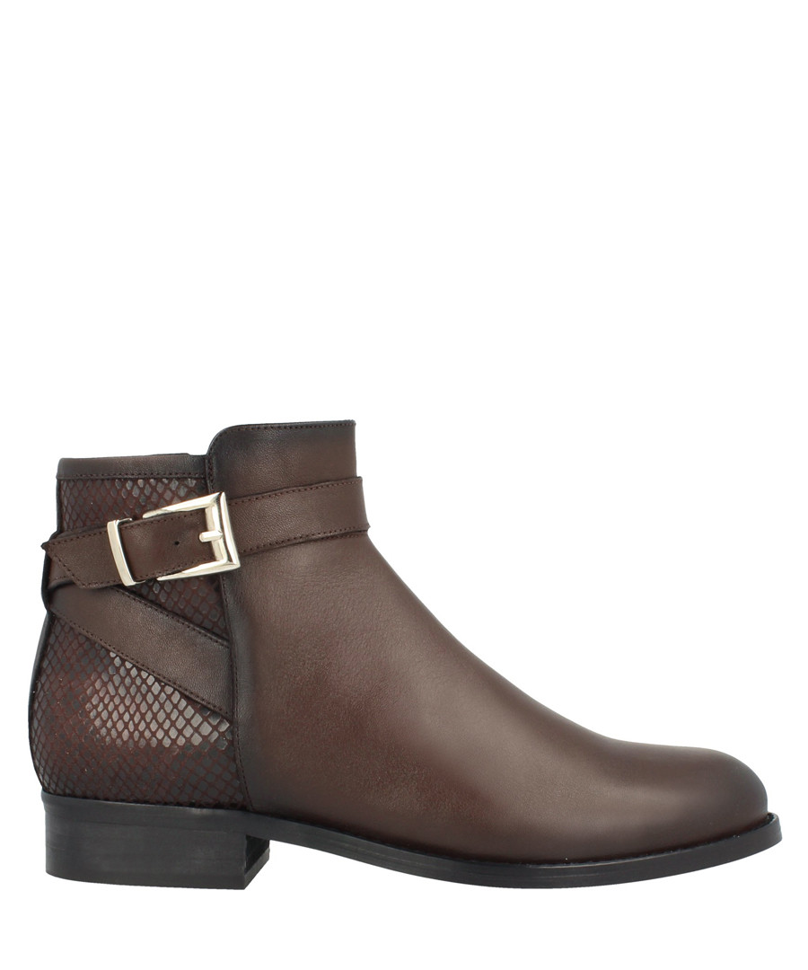 Brown leather buckle detail ankle boots Sale - roberto botella