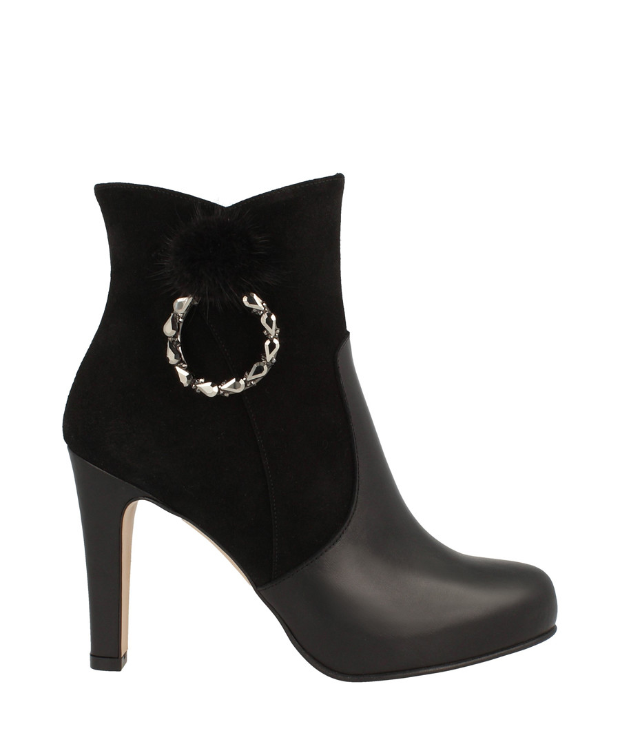 Black leather embellished ankle boots Sale - Roberto Botella