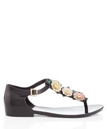 Honey Nature black floral sandals