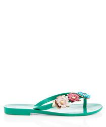 Harmonic Nature jade floral flip flops