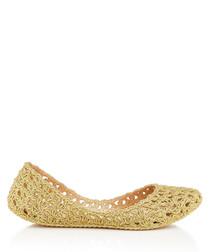 Campana Crochet gold-tone glitter pumps