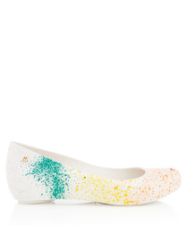 Ultra Girl paint splash ballet pumps