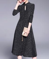Black keyhole midi dress