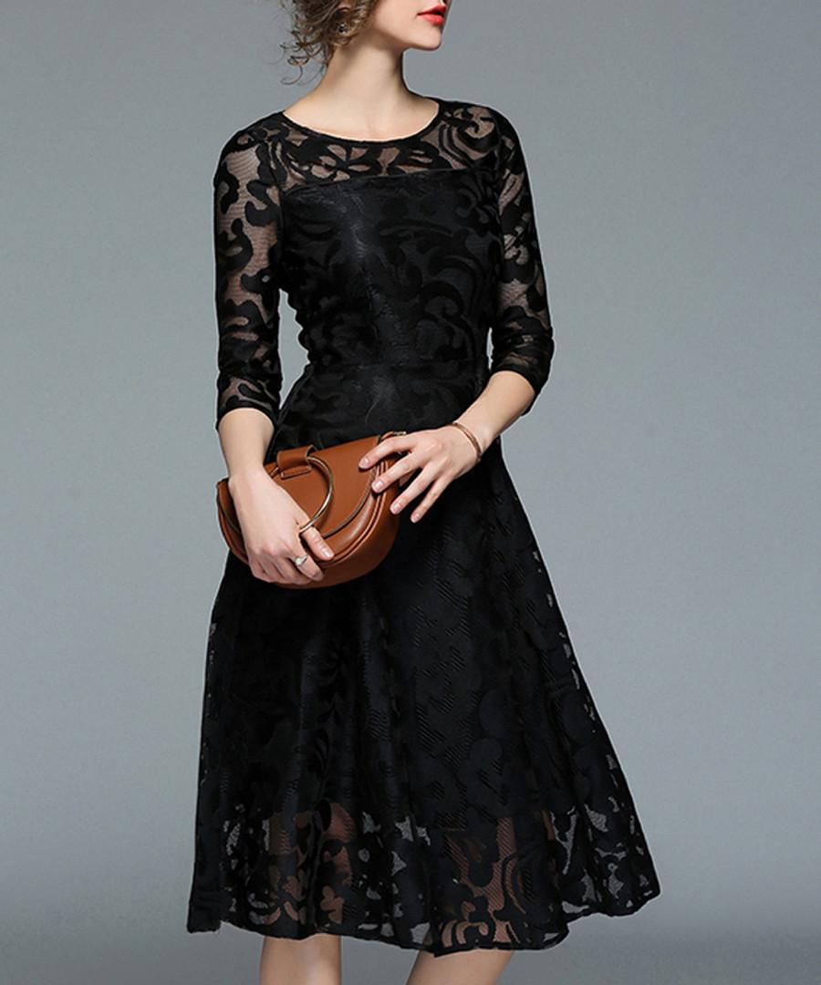 Black lace overlay midi dress Sale - Kaimilan