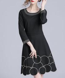 Black bubble hem scoop neck dress
