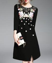 Black 3/4 sleeve floral dress