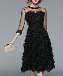 Black mesh insert detailed dress