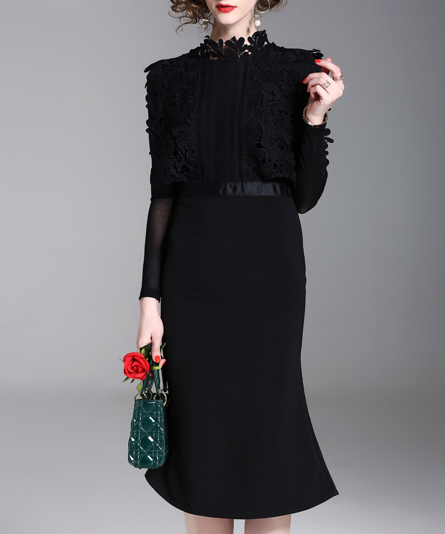 Black high-neck dress Sale - Kaimilan