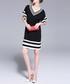 Black stripe hem V-neck mini dress Sale - Kaimilan Sale