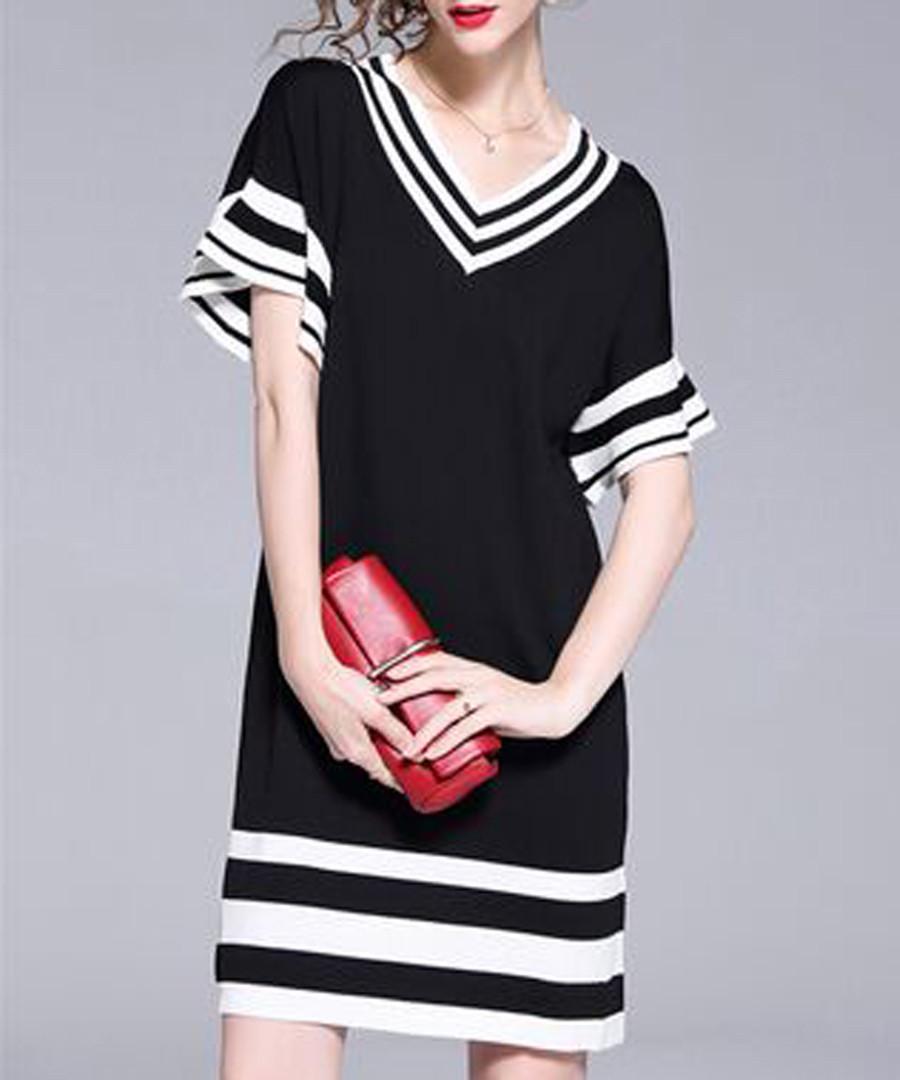 Black stripe hem V-neck mini dress Sale - Kaimilan