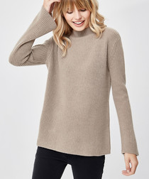 Brown pure cashmere high-neck jumper