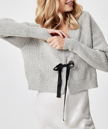 Grey pure cashmere bow detail cardigan