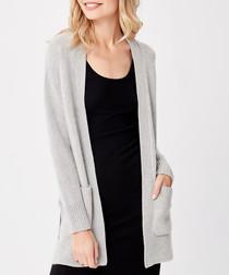 Grey pure cashmere pocket cardigan