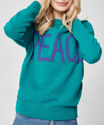 Teal pure cashmere peace jumper