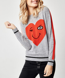 Grey pure cashmere heart jumper