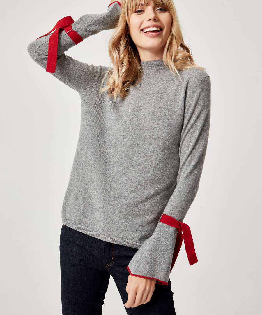 Silver & red pure cashmere jumper Sale - manode