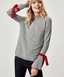 Silver & red pure cashmere jumper