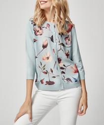 Pale blue floral button-up cardigan